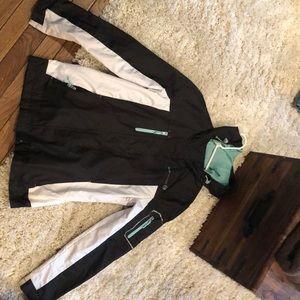 cute windbreaker/raincoat b&w with mint details